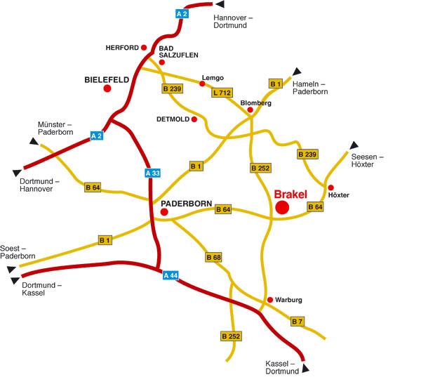 Wegespinne und Verkehrsanbindung von Brakel im Kreis Höxter zu den Bundes- und Landesstraßen, sowie zu den Autobahnen